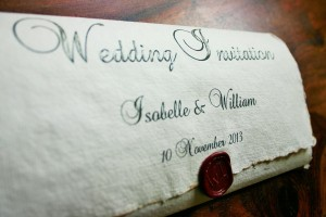 Old English, Medieval style Wedding invitation with wax seal