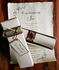 Personalised love letter scroll