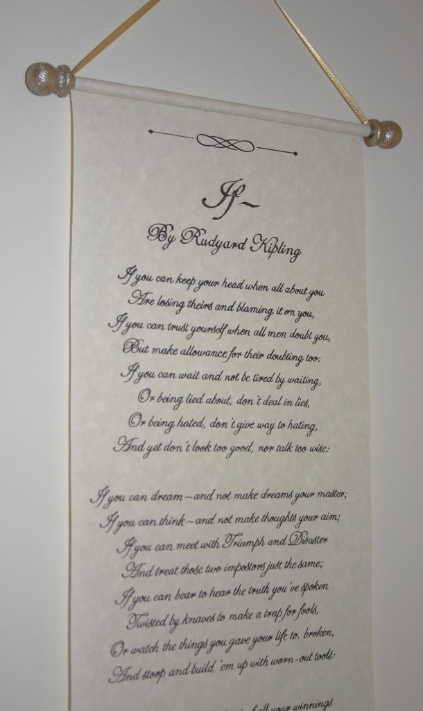 Personalised calligraphy scroll medium length