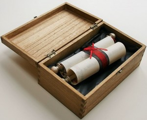 Hanging scroll in wooden box