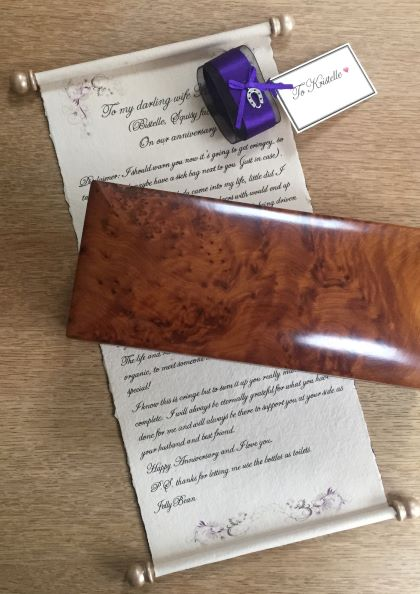 handwritten letter scroll