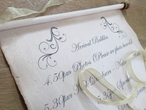 Itinerary wedding scroll