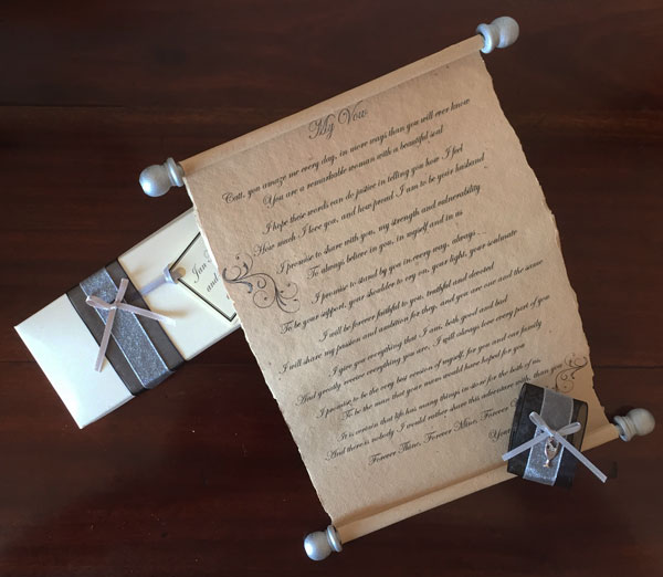 Personalised wedding vow scroll
