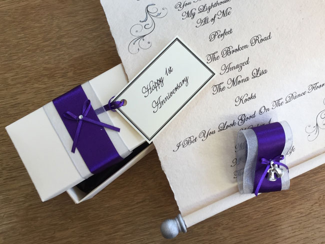 first paper wedding anniversary scroll gift