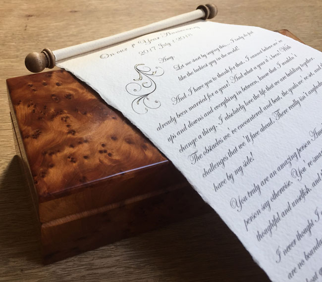 Paper wedding anniversary scroll gift