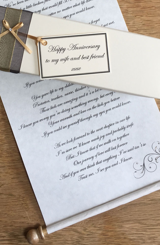 first anniversary gift scroll paper