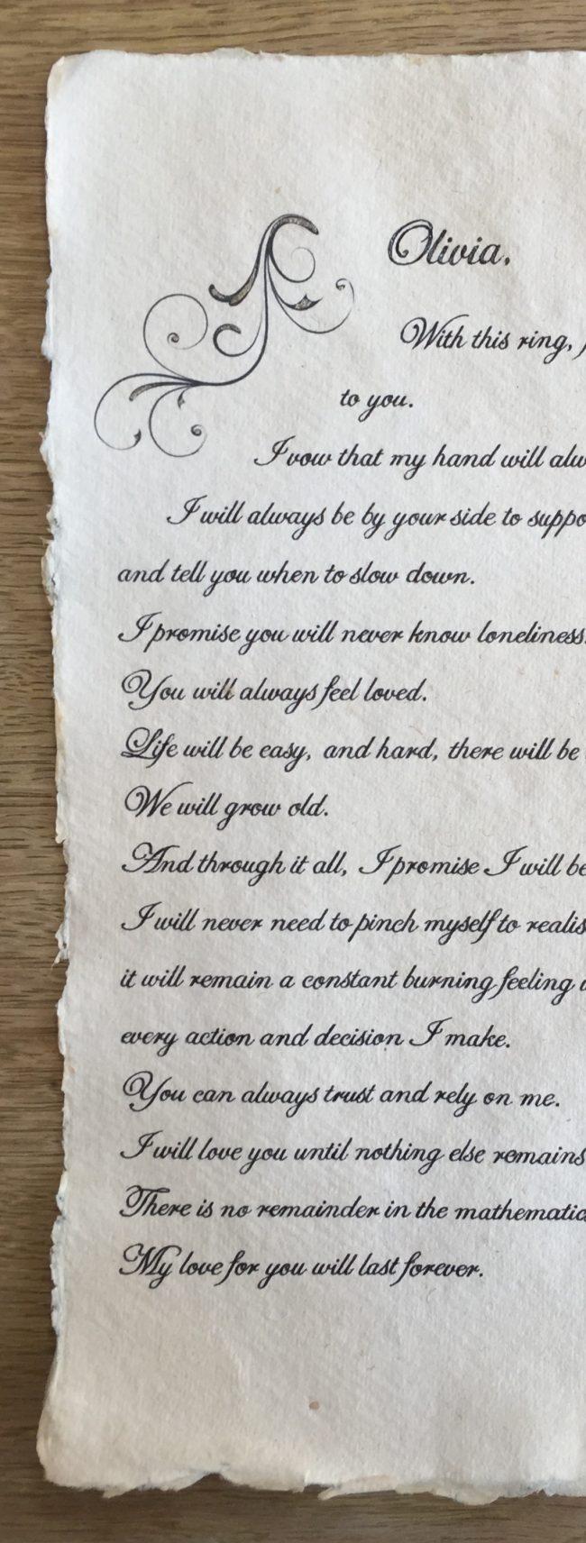Wedding vow scroll