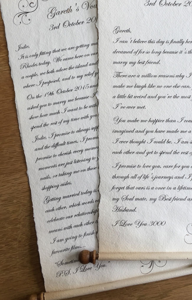Wedding vows scroll