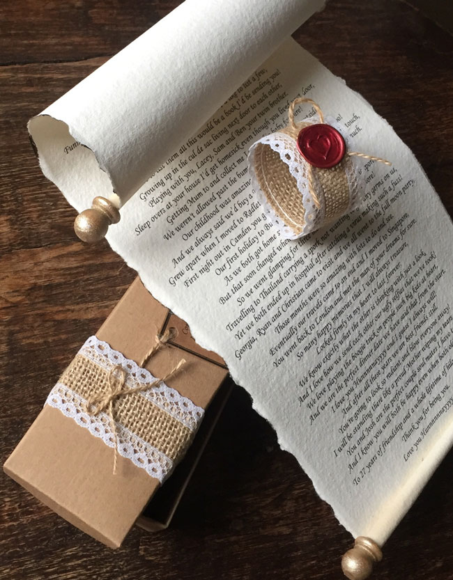 Wedding morning scroll letter