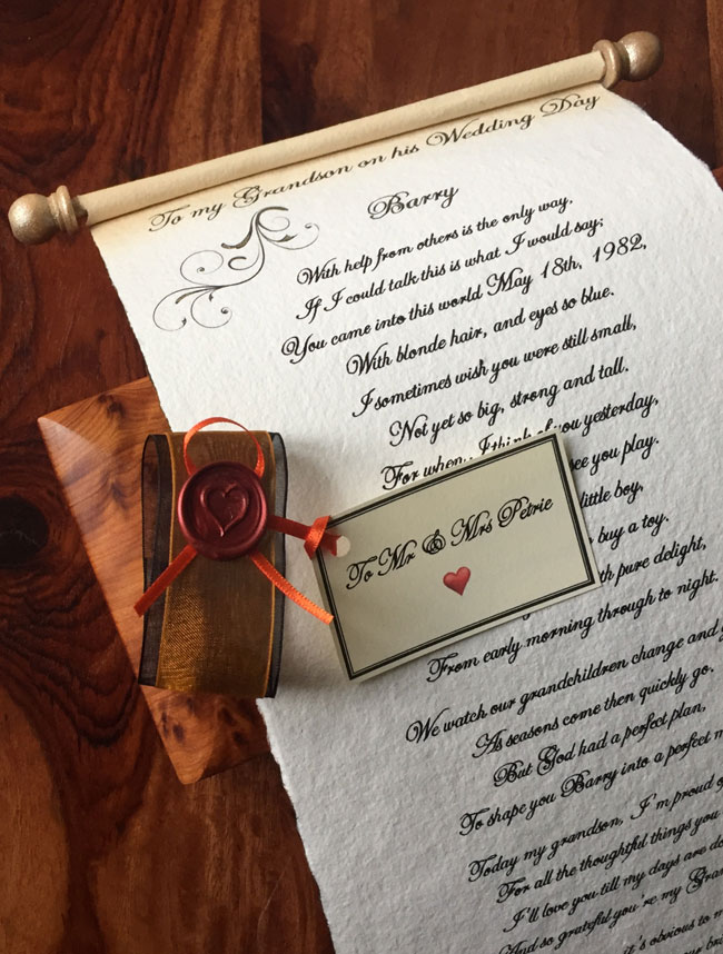 Letter scroll for Wedding morning