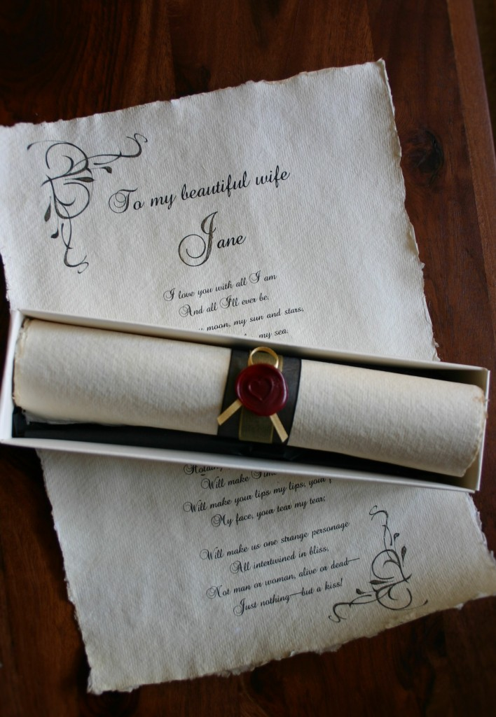 Old fashioned, personalised love letter scroll