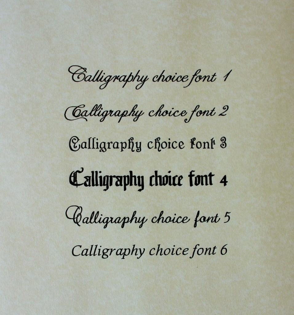 Calligraphy font choices
