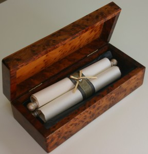 Wooden scroll presentation box