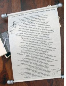 Personalised poem scroll for all occasions