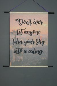 Hanging scroll with hand written quote