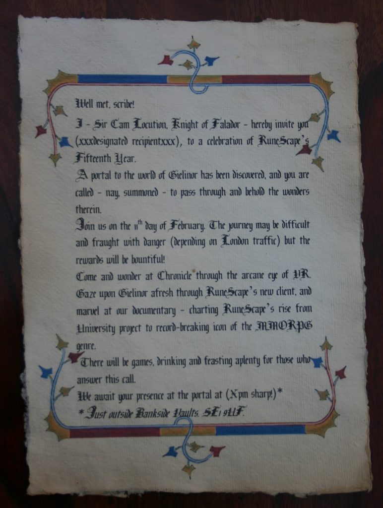 Medieval themed scroll with old english style font