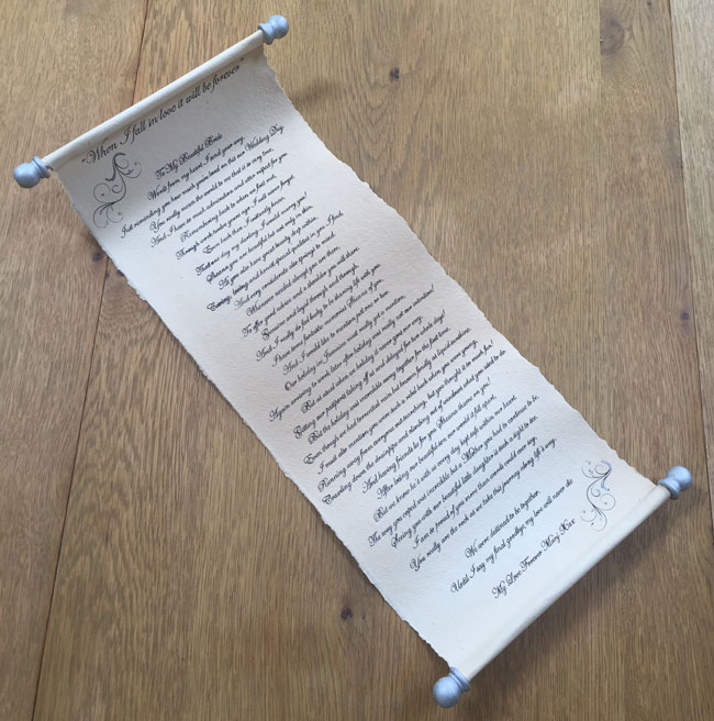 Handwritten calligraphy scroll