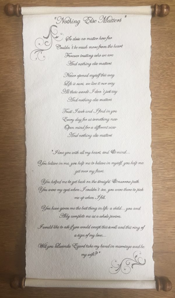 Handwritten wedding proposal