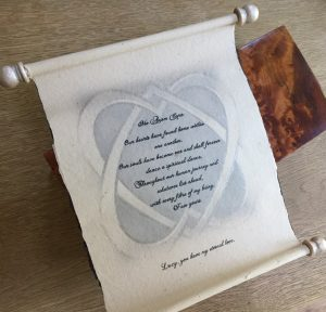 Infinity hearts personalised scroll, hand written, calligraphy