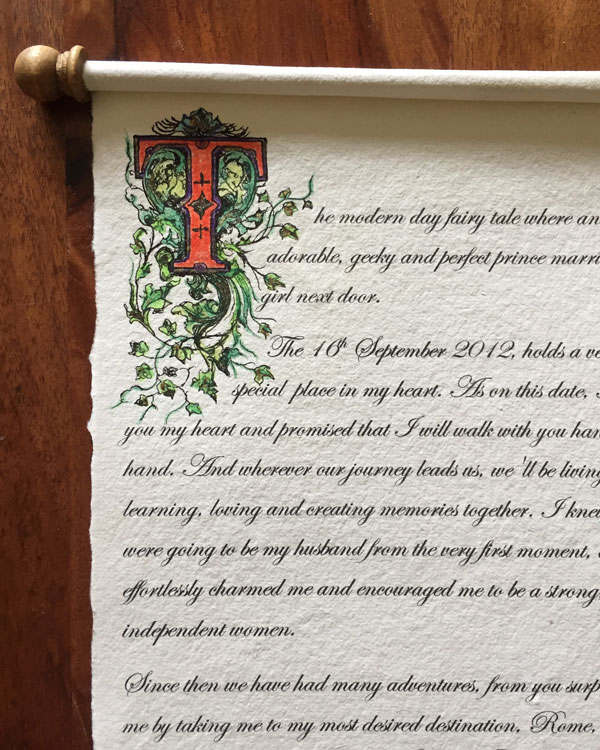 Victorian style lettering on scroll