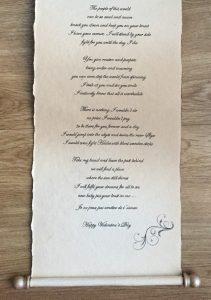 Calligraphy, handwritten scroll