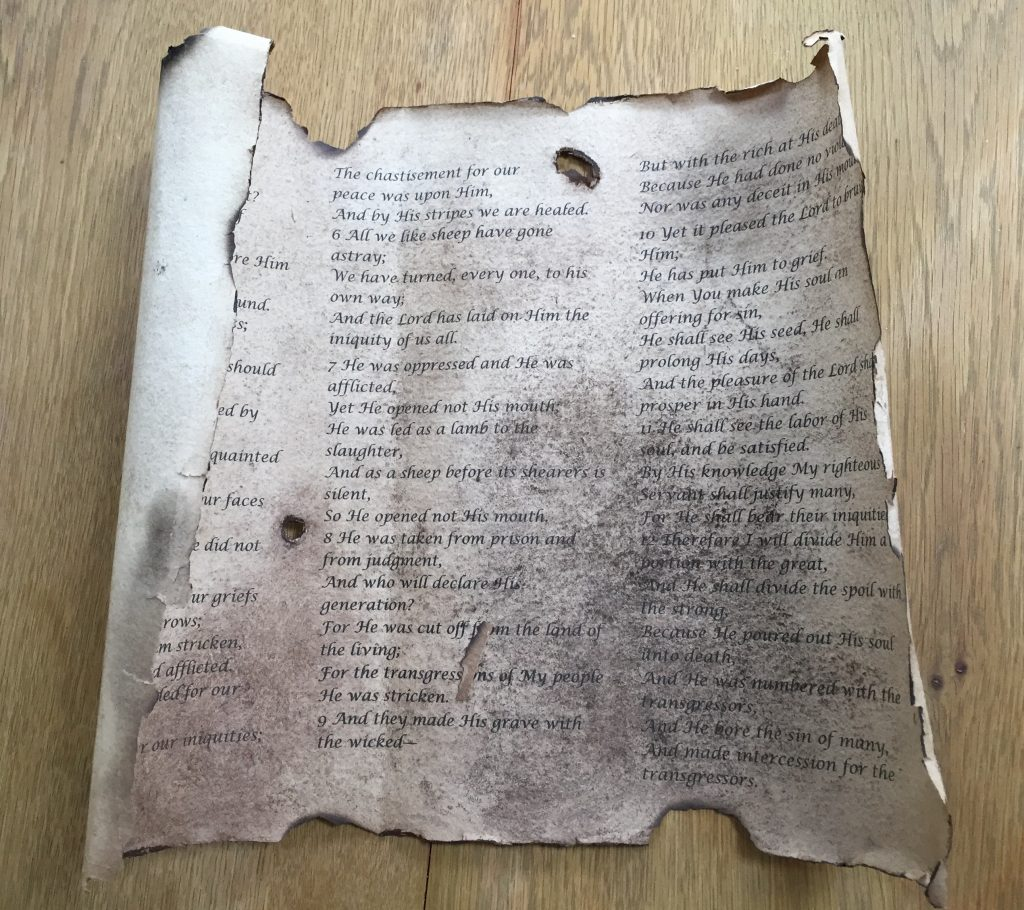 Aged and worn looking scroll