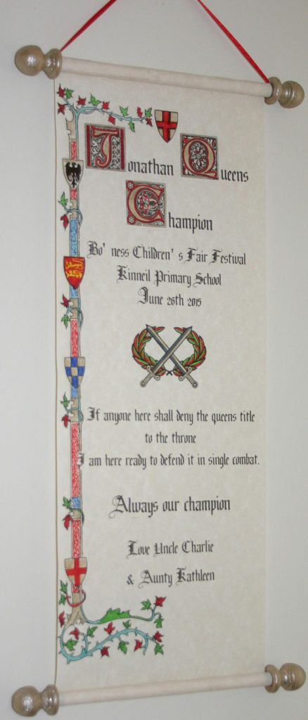Medieval, old English style scroll
