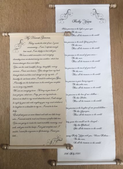 Wedding calligraphy scrolls
