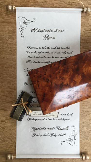 Handwritten wedding scrolls