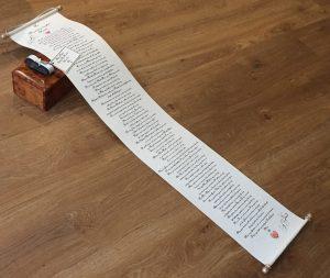 Extra long handwritten letter